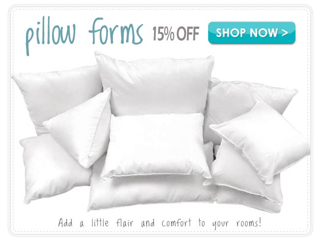 15% off Pillows & Pillow Forms