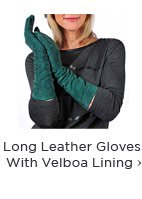 Long Leather Gloves With Velboa Lining