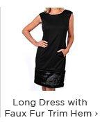 Long Dress with Faux Fur Trim Hem