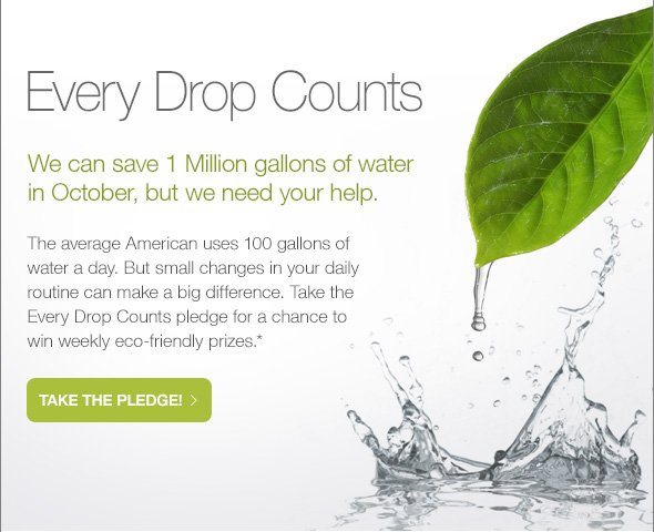 Every Drop Counts, We can save 1 Million gallons…