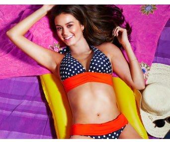 figleaves swimwear Tuscany Spot Soft Cup Triangle Bikini Top $41 & Tuscany Spot Fold Bikini Brief $31