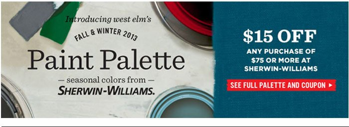$15 off any purchase of $75 or more at sherwin-williams. see full palette and coupon.