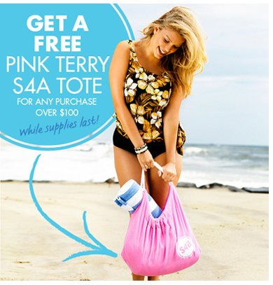 Get A FREE Pink Terry S4A Tote for any purchase Over $100