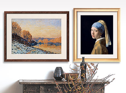 Port-Marly, White Frost, 1872 By Alfred Sisley; Girl with a Pearl Earring By Jan Vermeer