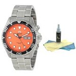 Orient EM6500AM Men's Ray Stainless Steel Orange Dial Automatic Dive Watch with 30ml Ultimate Watch Cleaning Kit