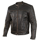 Xelement Men's Boone Charcoal Dark Brown Distressed Buffalo Leather Jacket