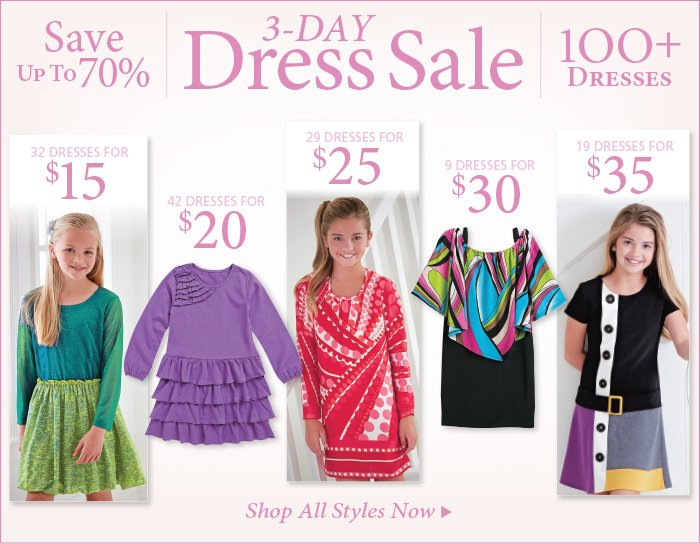 Save up to 70% on Select Girl's Dresses, 3 day sale