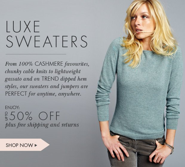 Download Images:  Shop Sweaters and Jumpers with up to 50% off plus free shipping and free returns