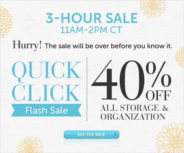 Today Only - 11am-2pm CT - Hurry! The sale will be over before you know it - Quick Click Flash Sale - 40% OFF All Storage & Organization