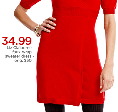 34.99 Liz Claiborne faux-wrap sweater dress ›  orig. $50