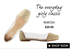 MIMOSA Shimmering Side Clear Flats