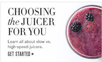 CHOOSING the JUICER FOR YOU -- Learn all about slow vs. high-speed juicers. -- GET STARTED