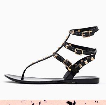 Leyla Studded Sandal in Black