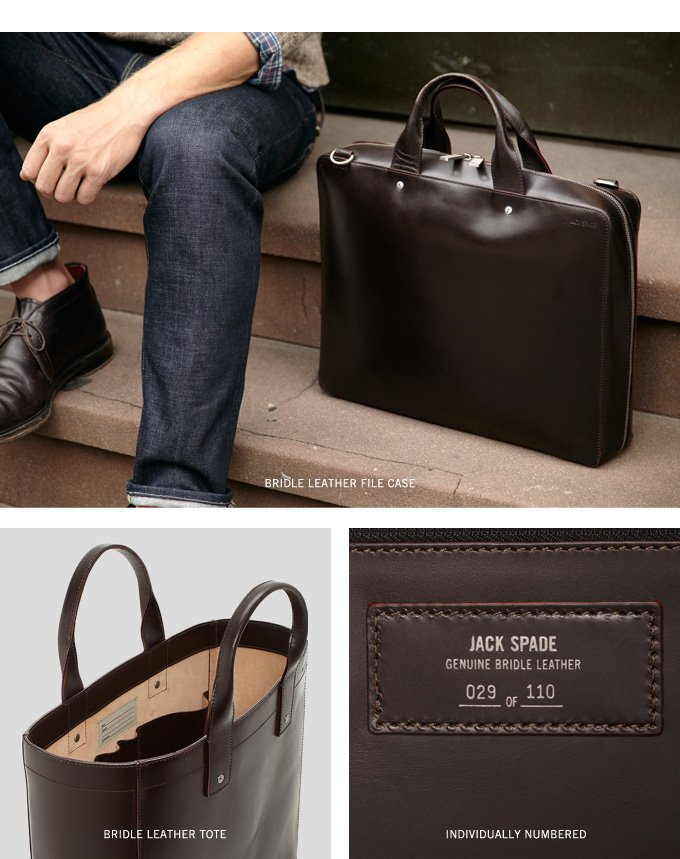 JACK SPADE GENUINE BRIDLE LEATHER.
