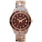 Fossil ES3090 Women's Stella Rose Gold Bezel Brown Dial Plastic Bracelet Watch