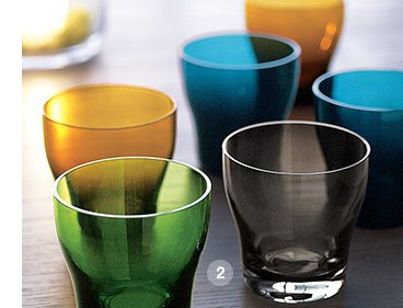 2. Welcome Double Old-Fashioned Glass in  Green, Amber, Blue or Grey $10.95 each