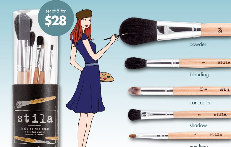 set of 5 brushes for just $28! stila's tools of the trade brush set