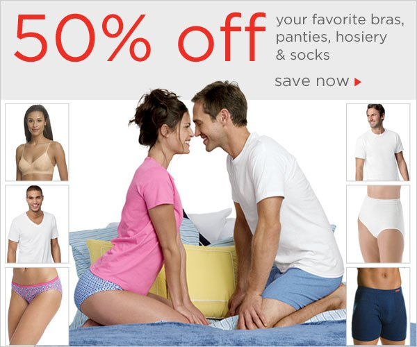 50% off your favorite Underwear Styles