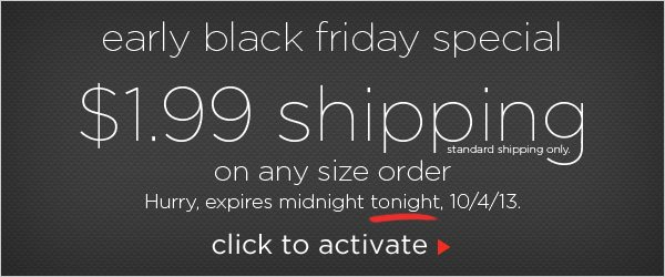 Black Friday Special: $1.99 Shipping Offer