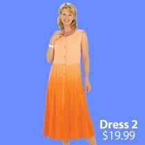 Dip Dye Crinkle Cotton Dress