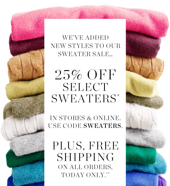 J.Crew: Sale news: new sweaters on sale & free shipping on all ...