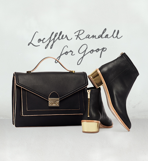 Shop the exclusive Loeffler Randall for Goop Rider Bag and Felix Booties on www.goop.com