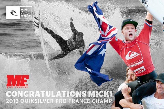 Congratulations Mick! - 2013 QUIKSILVER PRO FRANCE CHAMP