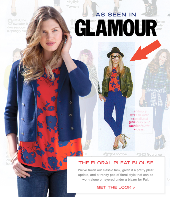NAUTICA Floral Pleat Blouse, as seen in GLAMOUR.