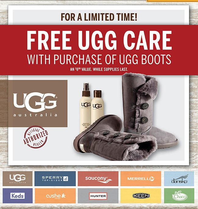 Free UGG Care with Purchase of UGG Boots.
