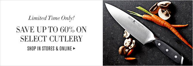 Limited Time Only! - SAVE UP TO 60% ON SELECT CUTLERY - SHOP IN STORES & ONLINE