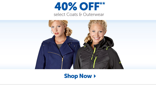 40% OFF** select Coats & Outerwear - Shop Now