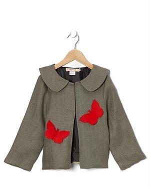 Textures 100% Linen Collared Girl's Jacket