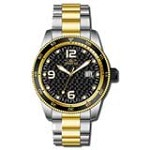 Invicta 14113 Men's Pro Diver Black Dial Two Tone Gold Plated Steel Bracelet Automatic Watch