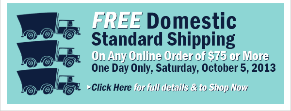 Free Shipping Today Only with 75 dollar purchase