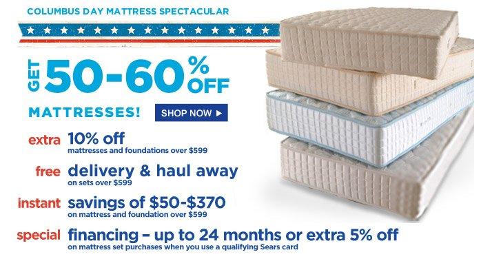 Columbus Day Mattress Spectacular | Get 50-60% Off Mattresses! | Shop Now