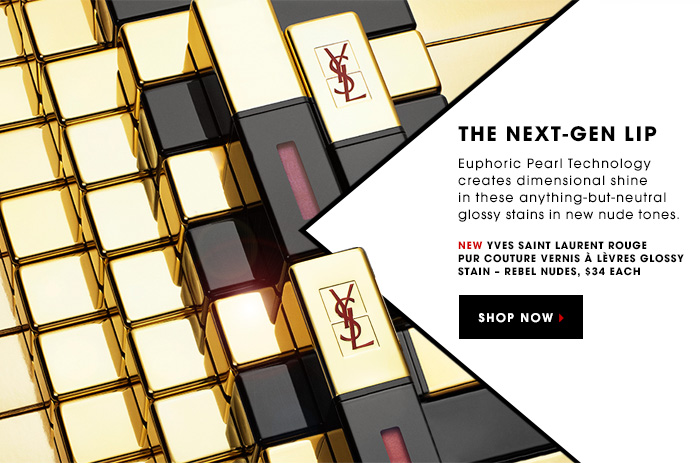 THE NEXT-GEN LIP. Euphoric Pearl Technology creates dimensional shine in these anything-but-neutral glossy stains in new nude tones. New Yves Saint Laurent ROUGE PUR COUTURE Vernis A Levres Glossy Stain â?? Rebel Nudes, $34 each. SHOP NOW