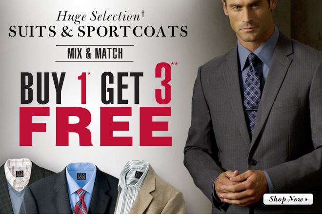 Buy 1* Get 3** FREE - huge selection† Suits & Sportcoats