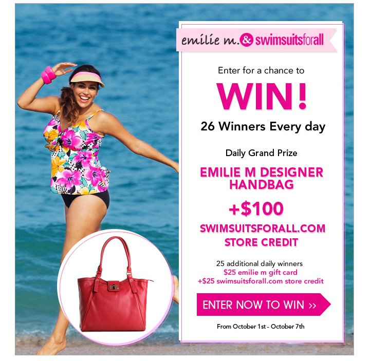 Sign up for our newsletter for a chance to win $100 s4a credit and Emelie M Handbag!