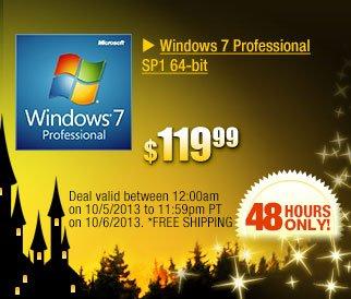 $119.99 -- Windows 7 Professional SP1 64-bit