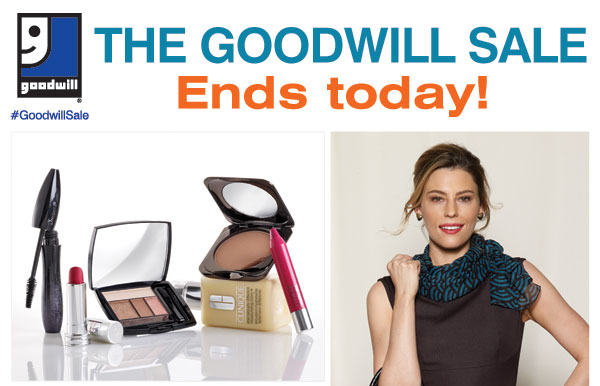 The Goodwill® Sale Now Better Than Ever! Save on nearly everything, including your favorite brands that rarely go on sale! Tuesday, October 1 - Saturday, October 5 For each item donated, you'll earn a coupon. Save an extra 30% on your regular or sale price apparel or fine jewelry item** or Save an extra 20% on your regular or sale price dresses, outerwear or footwear item** or Save an extra 15% on your cosmetics, fragrance, home or furniture item** SHOP NOW.