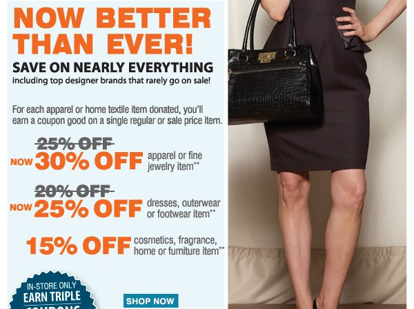 The Goodwill® Sale Now Better Than Ever! Save on nearly everything, including your favorite brands that rarely go on sale! Tuesday, October 1 - Saturday, October 5 For each item donated, you'll earn a coupon. Save an extra 30% on your regular or sale price apparel or fine jewelry item** or Save an extra 20% on your regular or sale price dresses, outerwear or footwear item** or Save an extra 15% on your cosmetics, fragrance, home or furniture item** FIND A STORE.