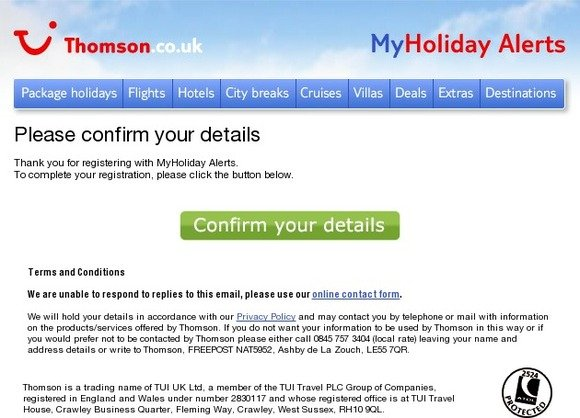 Thomson Holidays: Please confirm your MyHoliday Alerts