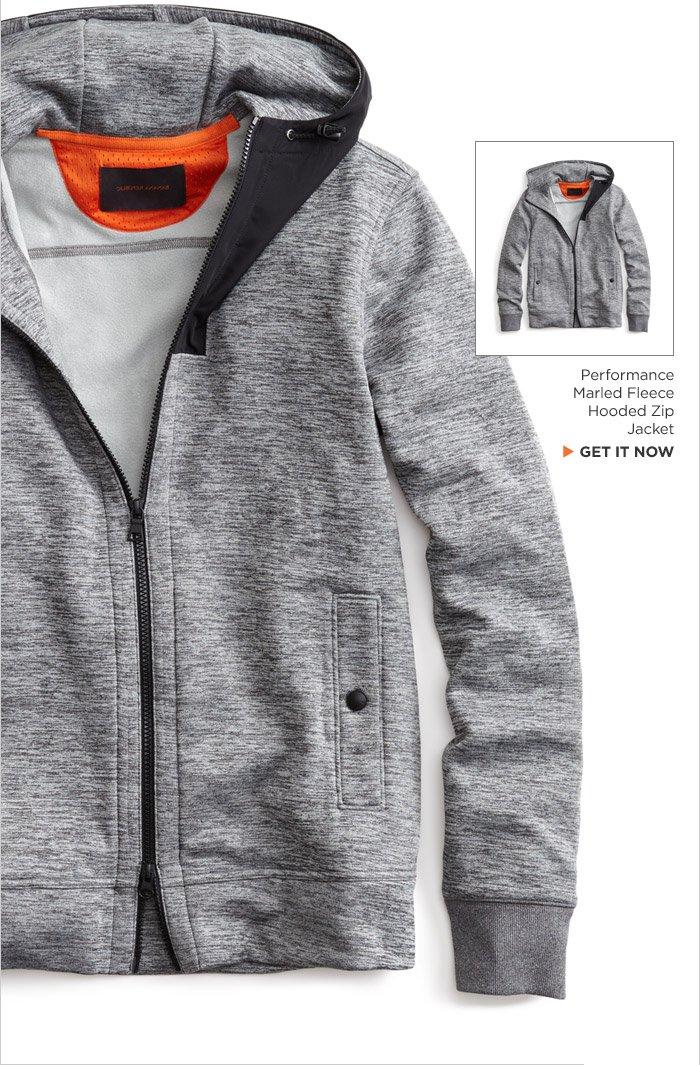Performance Marled Fleece Hooded Zip Jacket | GET IT NOW