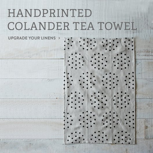 Handprinted Colander Tea Towel