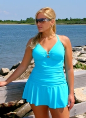Women's Plus Size Swimwear - Always For Me Chic Solids Illusion Suit Style #67165W - TURQ - THIS WEEKEND ONLY $69