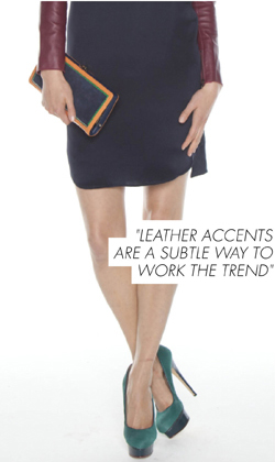 LEATHER ACCENTS ARE A SUBTLE WAY TO WORK THE TREND