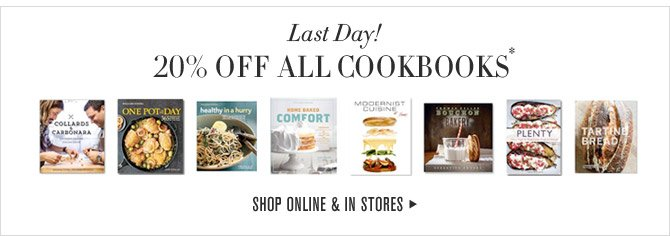 Last Day! - 20% OFF ALL COOKBOOKS* - SHOP ONLINE & IN STORES