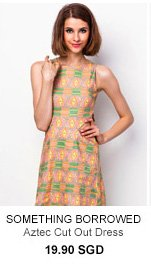 SOMETHING BORROWED Aztec Cut Out Dress
