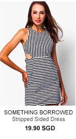 SOMETHING BORROWED Striped Sided Dress