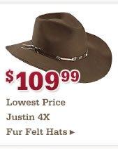 109.99 Justin 4X Felt Hats
